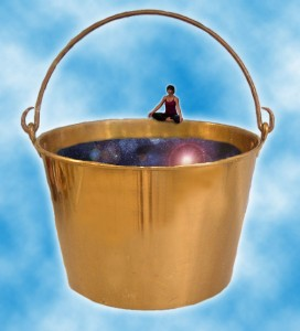 Kathy on a bucket.